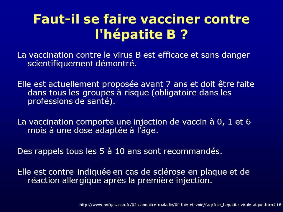 Faut-il se faire vacciner contre l hépatite B