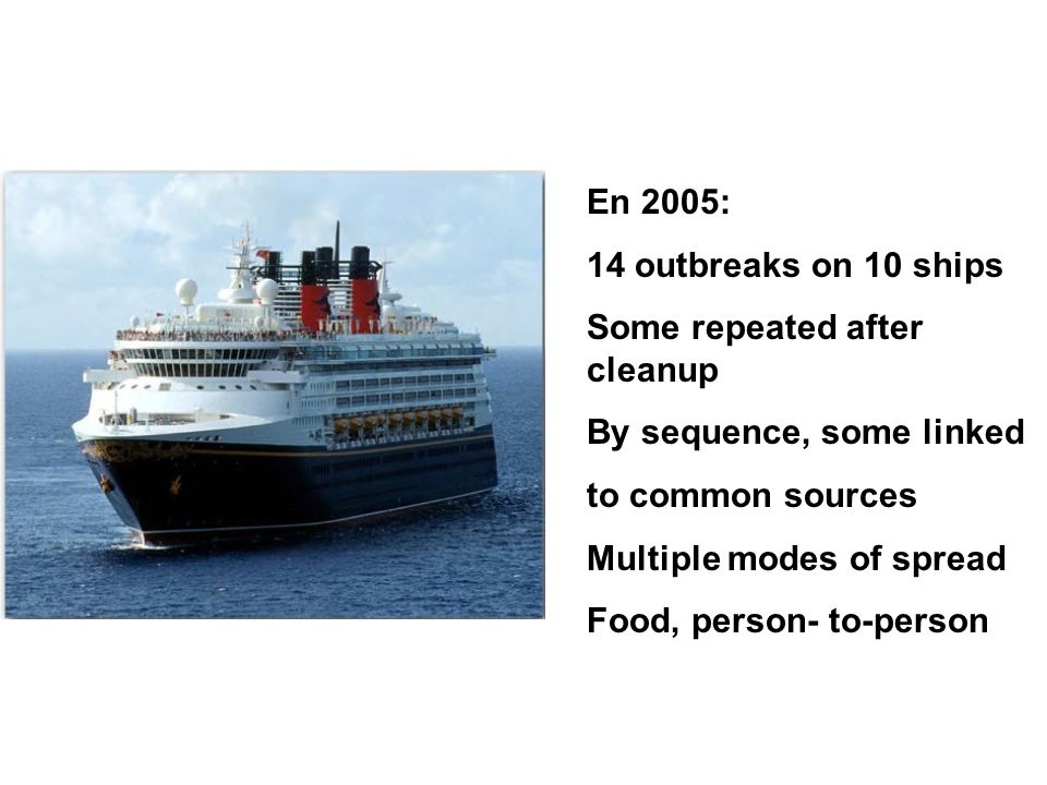 En 2005: 14 outbreaks on 10 ships. Some repeated after cleanup. By sequence, some linked. to common sources.