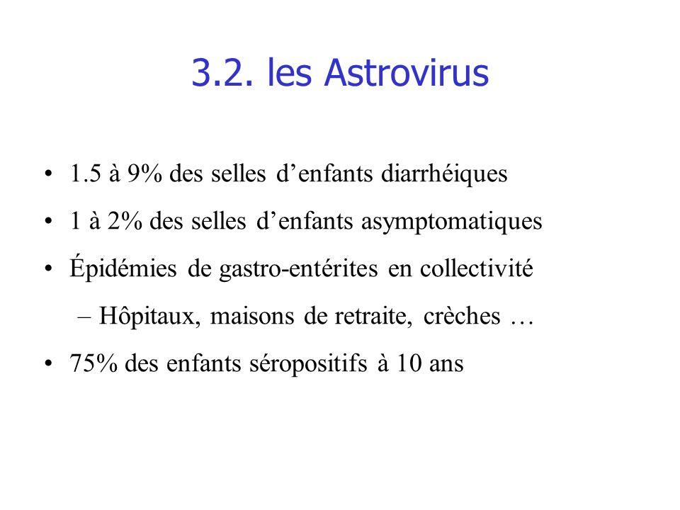 3.2. les Astrovirus 1.5 à 9% des selles d'enfants diarrhéiques