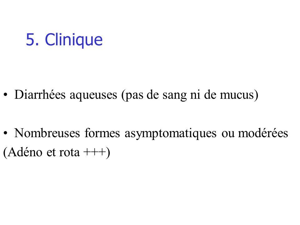 5. Clinique Diarrhées aqueuses (pas de sang ni de mucus)