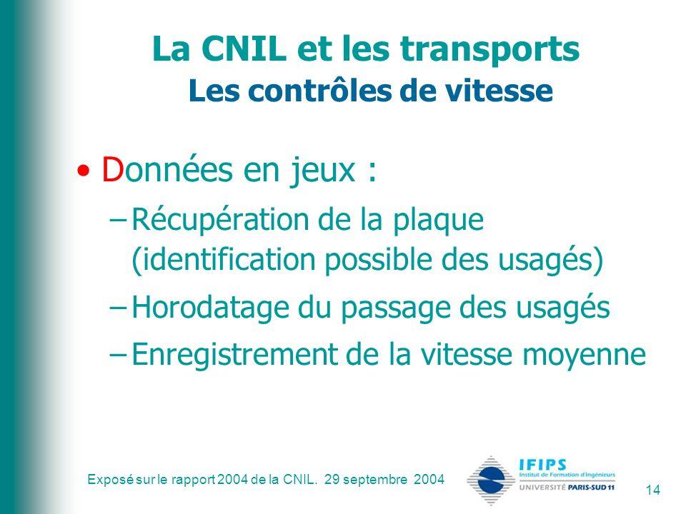 La CNIL et les transports Les contrôles de vitesse