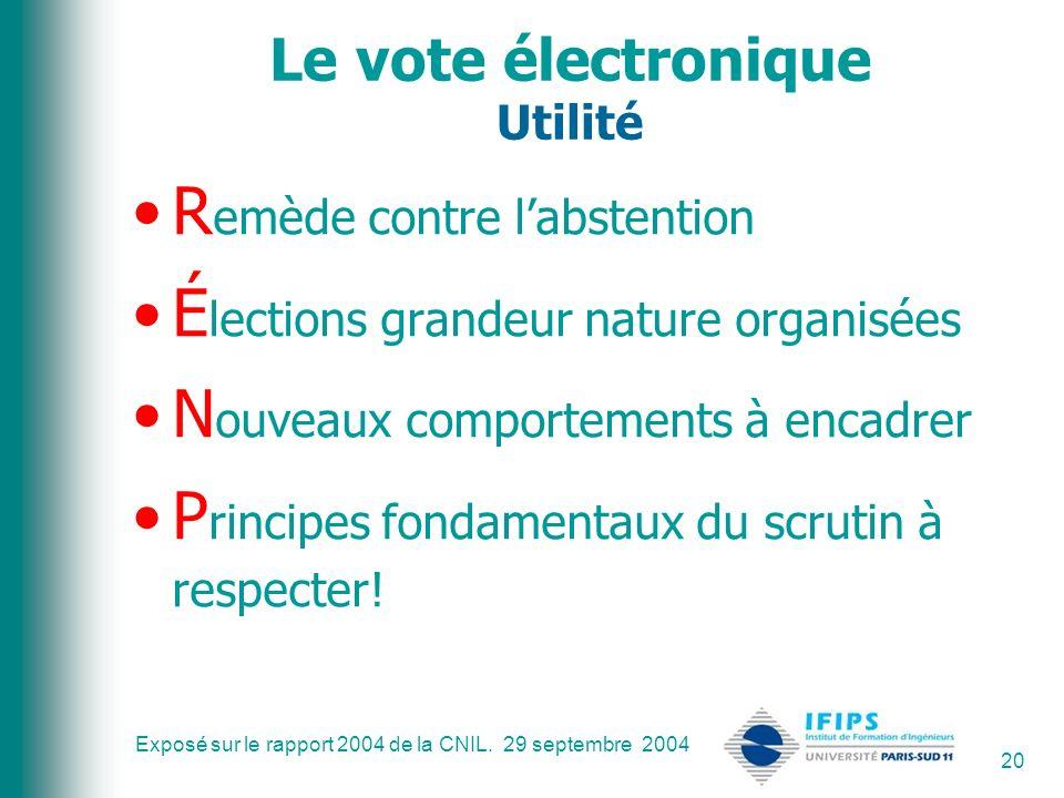 Le vote électronique Utilité