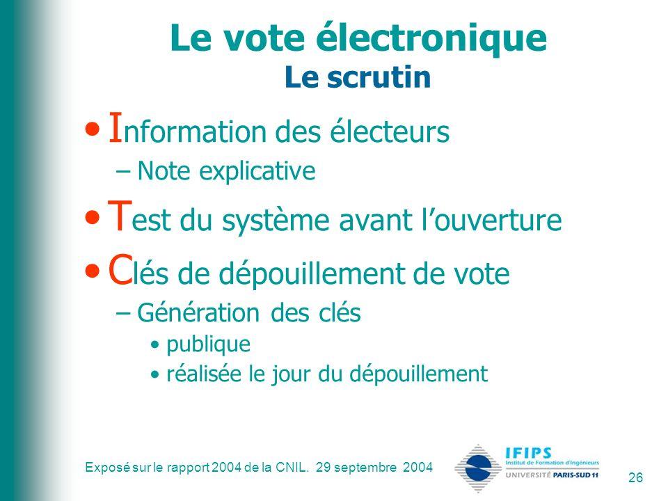 Le vote électronique Le scrutin