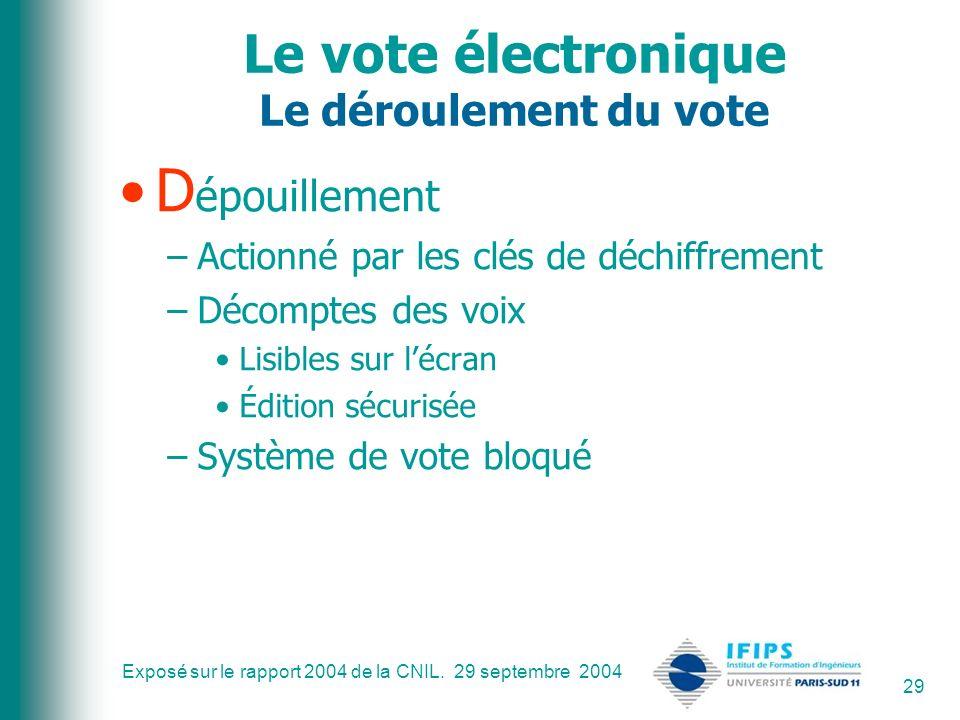 Le vote électronique Le déroulement du vote