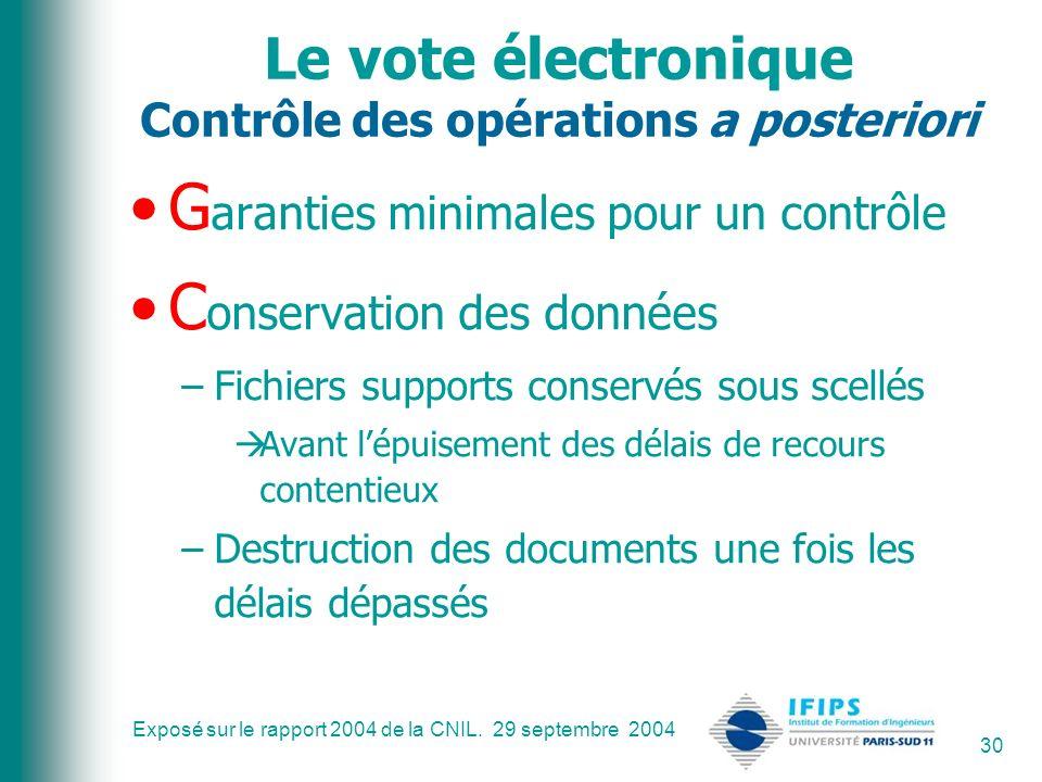 Le vote électronique Contrôle des opérations a posteriori