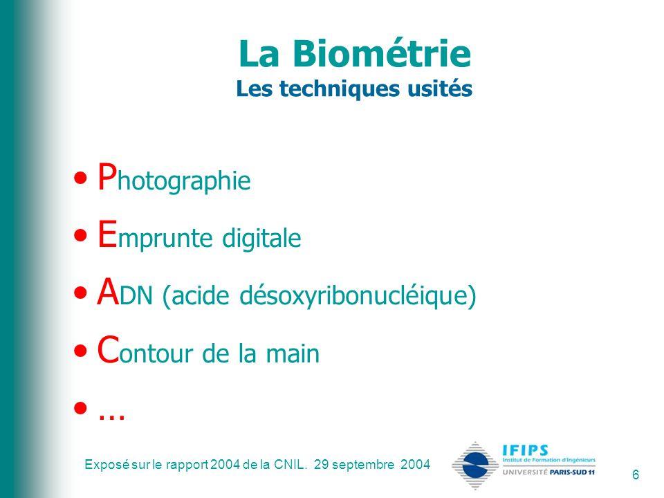 La Biométrie Les techniques usités