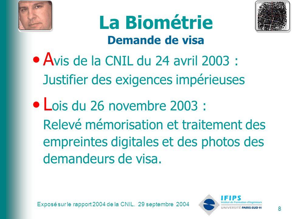 La Biométrie Demande de visa
