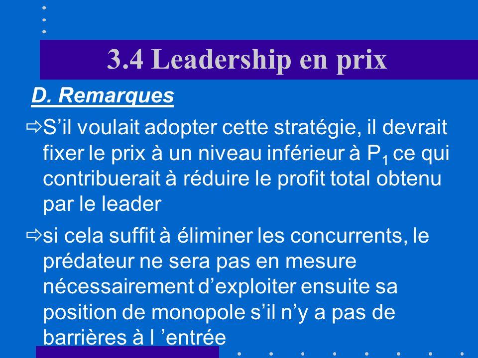 3.4 Leadership en prix D. Remarques