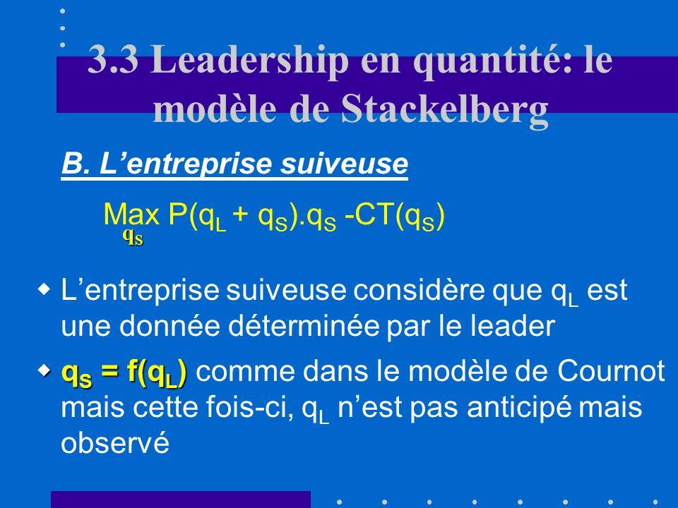 3.3 Leadership en quantité: le modèle de Stackelberg