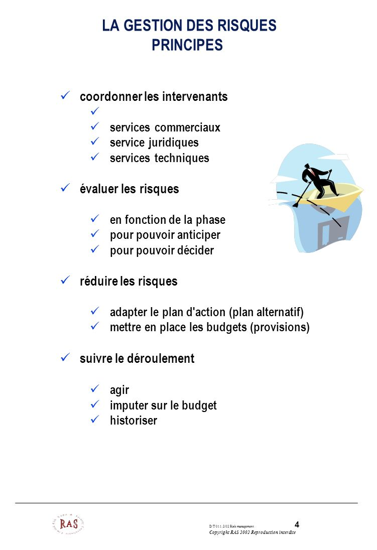 LA GESTION DES RISQUES PRINCIPES