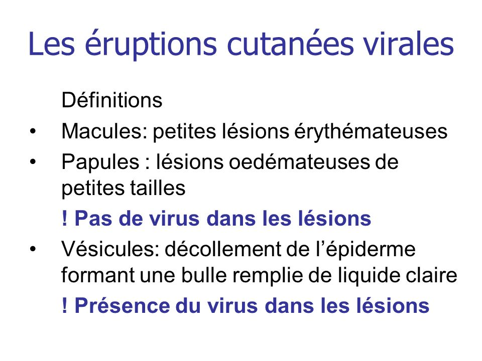 Les éruptions cutanées virales
