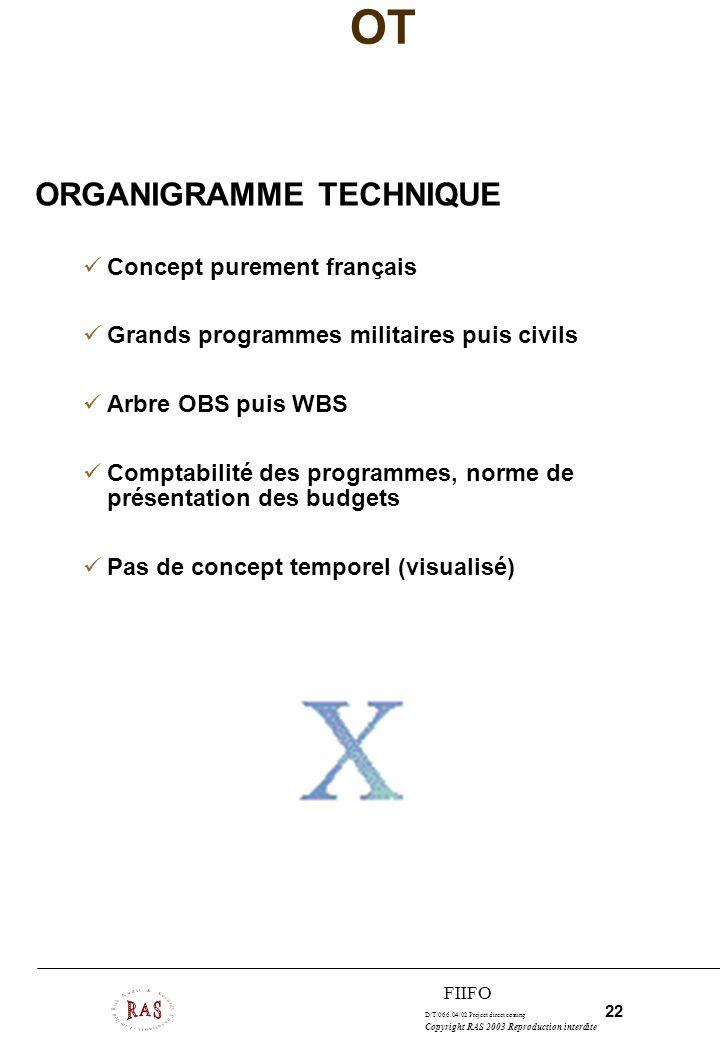 OT ORGANIGRAMME TECHNIQUE Concept purement français