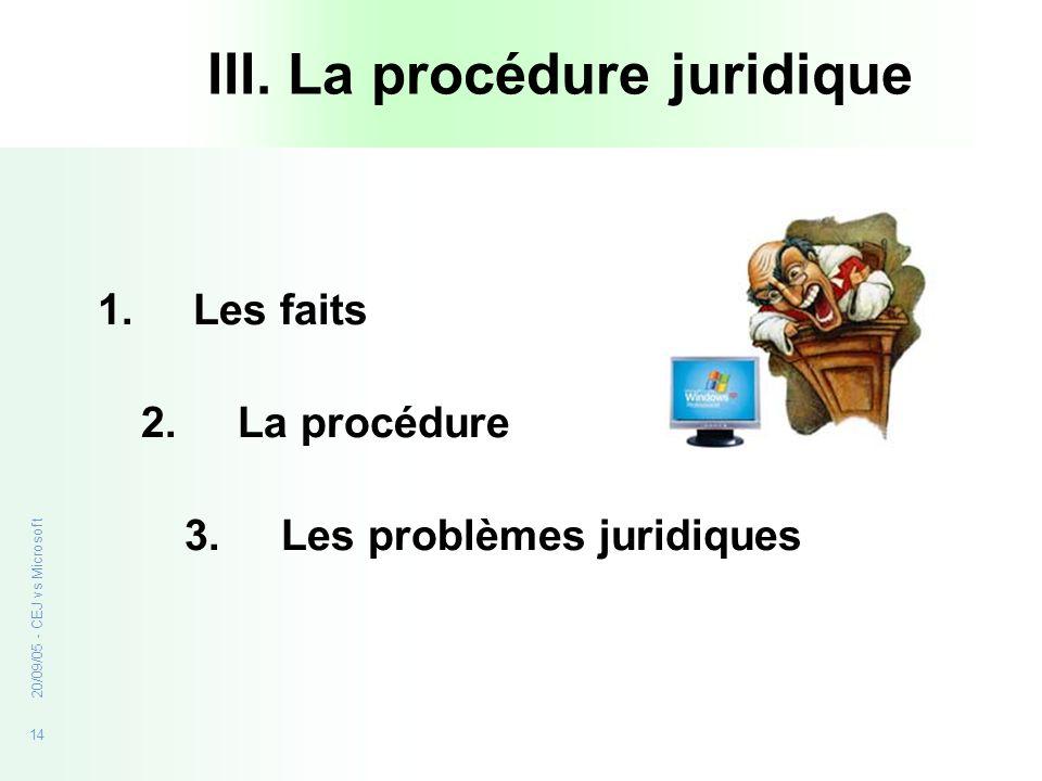 III. La procédure juridique