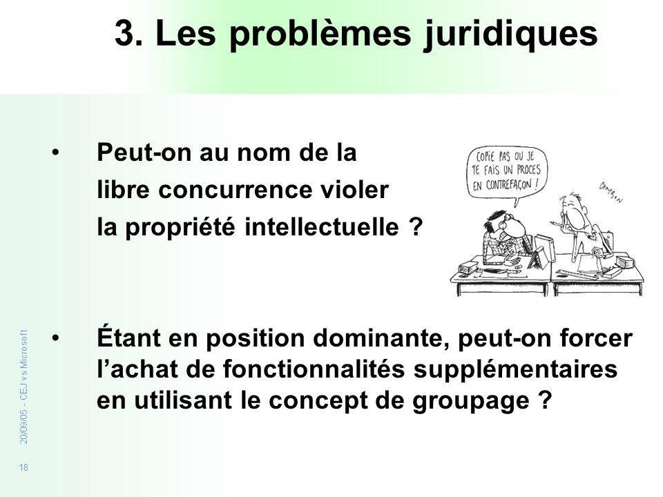 3. Les problèmes juridiques