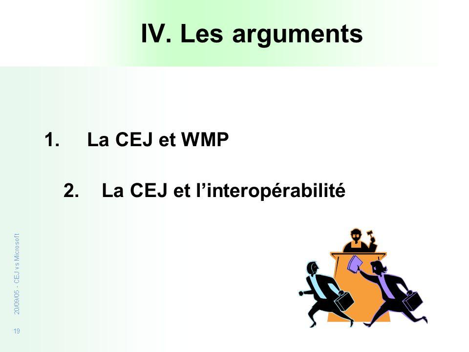 IV. Les arguments La CEJ et WMP 2. La CEJ et l'interopérabilité