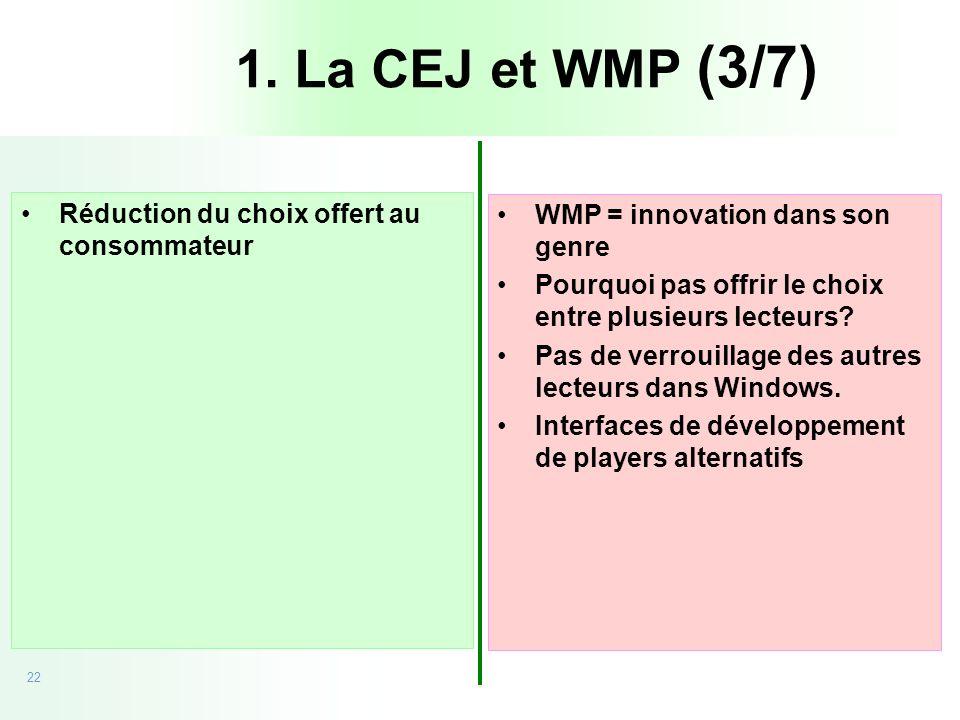 1. La CEJ et WMP (3/7) Réduction du choix offert au consommateur