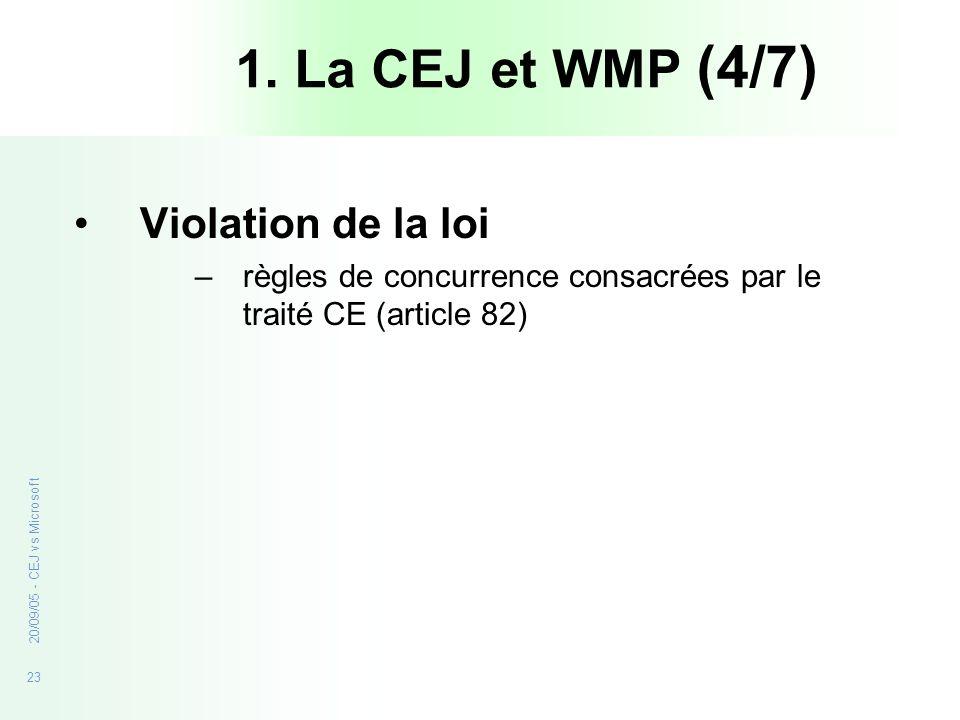 1. La CEJ et WMP (4/7) Violation de la loi