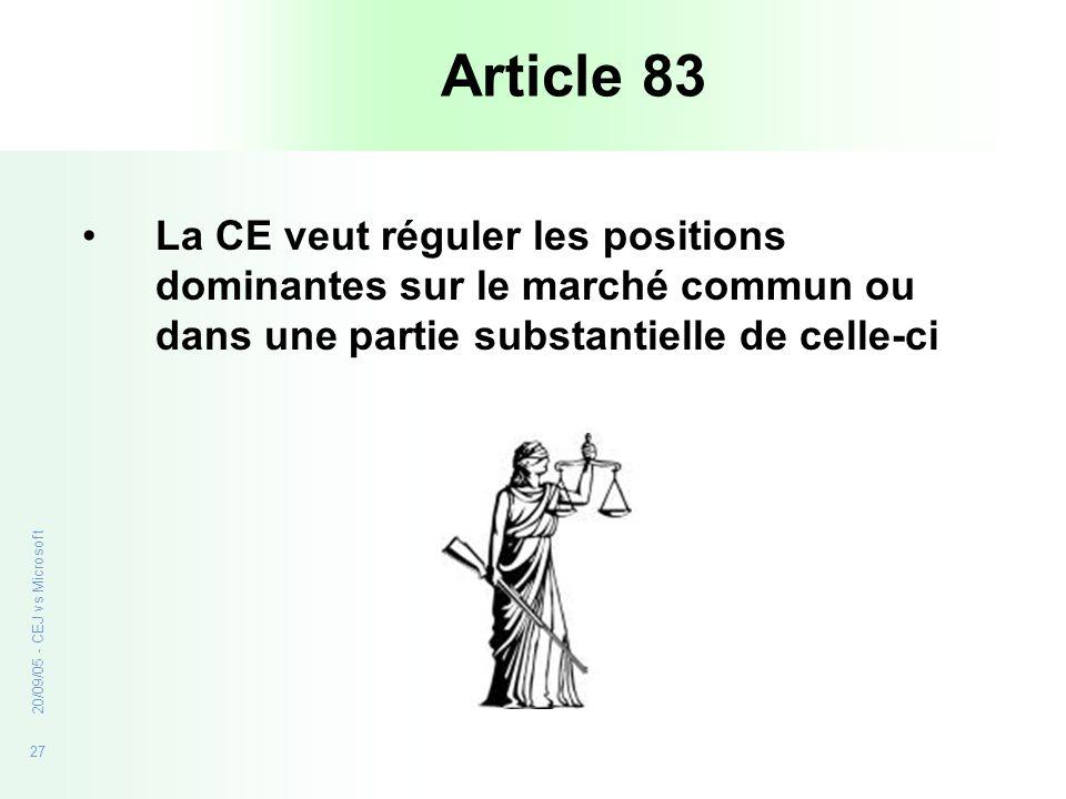 Article 83 La CE veut réguler les positions dominantes sur le marché commun ou dans une partie substantielle de celle-ci.