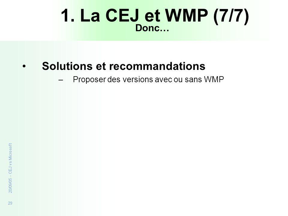 1. La CEJ et WMP (7/7) Solutions et recommandations Donc…