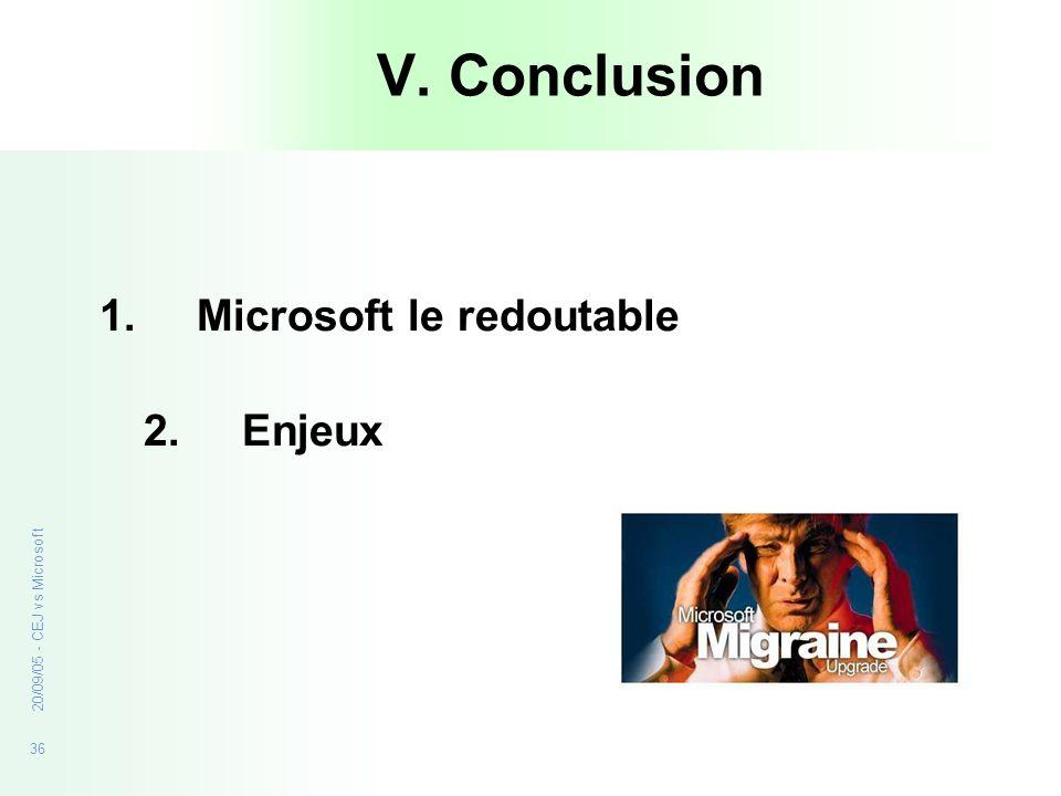 V. Conclusion Microsoft le redoutable 2. Enjeux