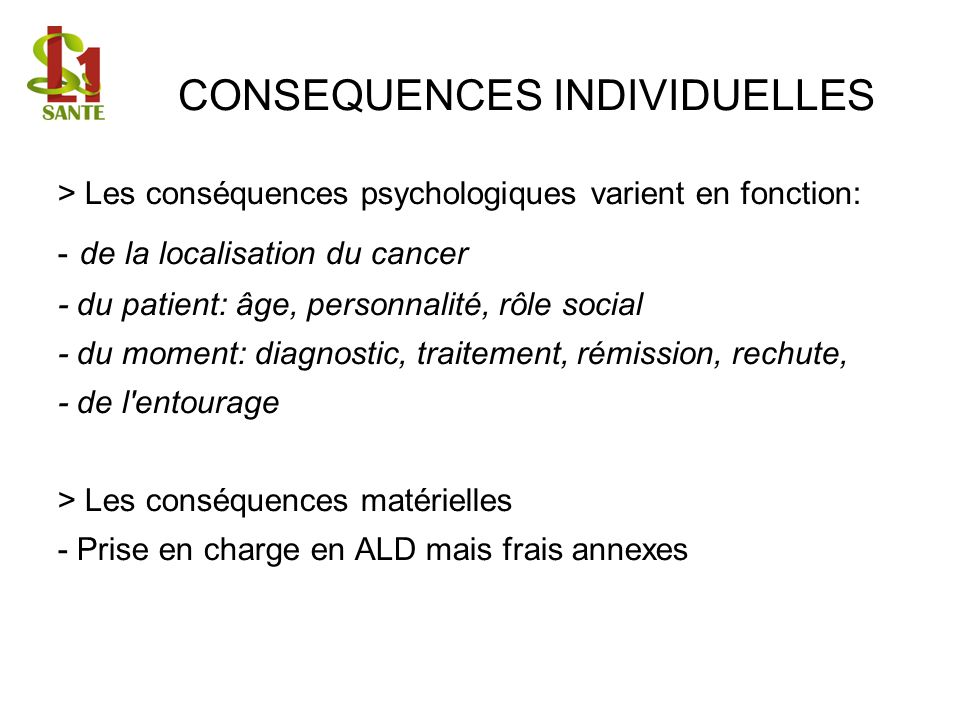 CONSEQUENCES INDIVIDUELLES