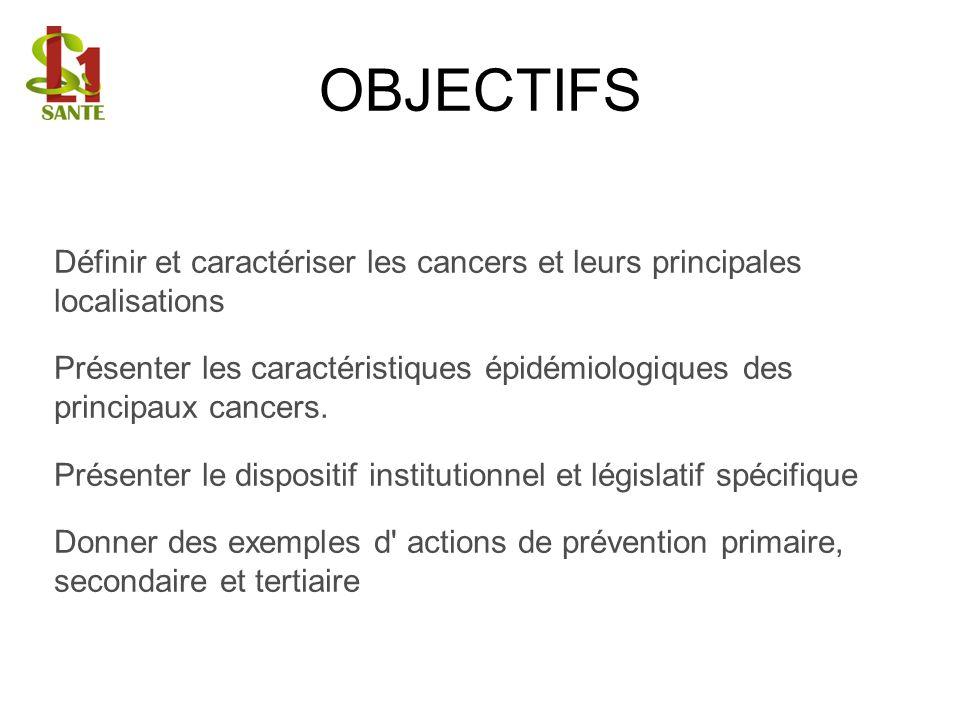 OBJECTIFS Définir et caractériser les cancers et leurs principales localisations.