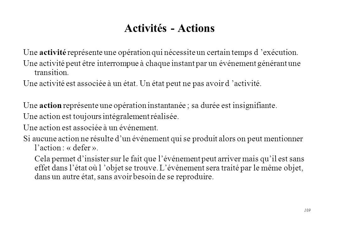 Activités - Actions Une activité représente une opération qui nécessite un certain temps d 'exécution.