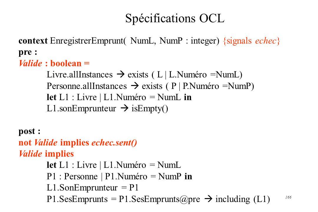Spécifications OCL context EnregistrerEmprunt( NumL, NumP : integer) {signals echec} pre : Valide : boolean =