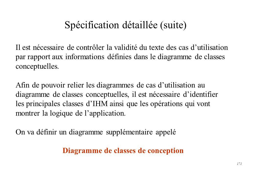 Spécification détaillée (suite)