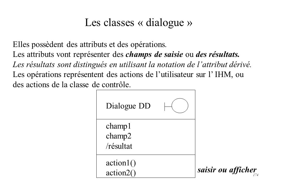 Les classes « dialogue »