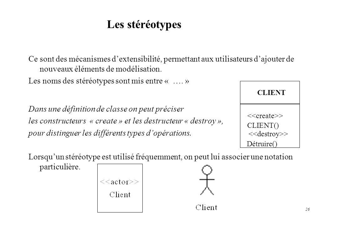 Les stéréotypes Ce sont des mécanismes d'extensibilité, permettant aux utilisateurs d'ajouter de nouveaux éléments de modélisation.