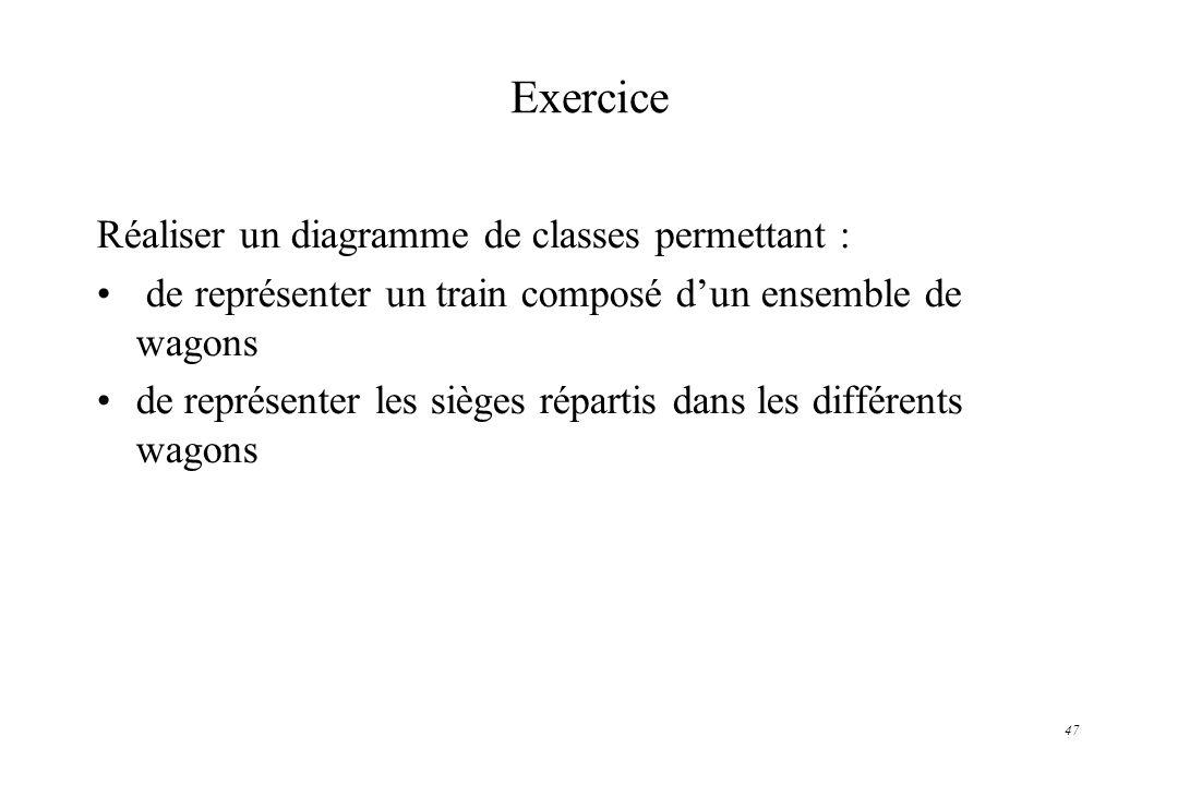Exercice Réaliser un diagramme de classes permettant :