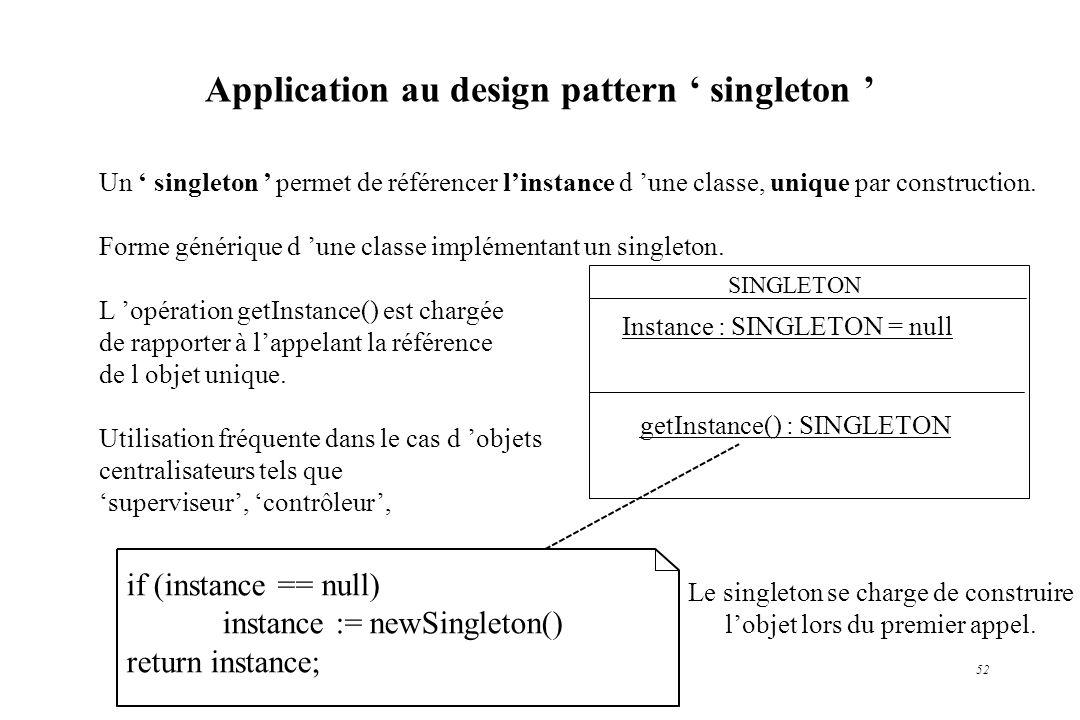 Application au design pattern ' singleton '