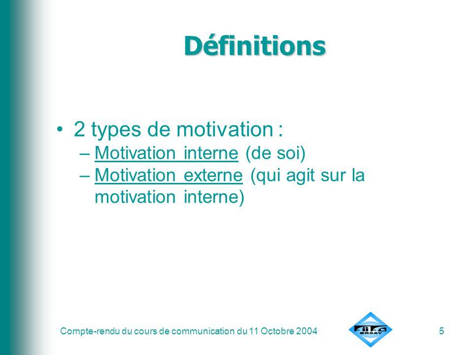 Définitions 2 types de motivation : Motivation interne (de soi)