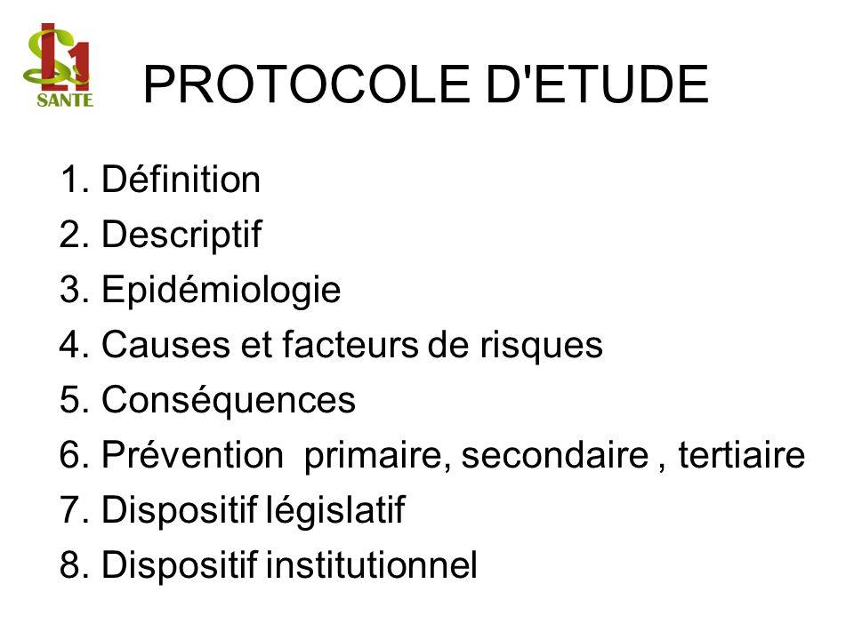 PROTOCOLE D ETUDE 1. Définition 2. Descriptif 3. Epidémiologie