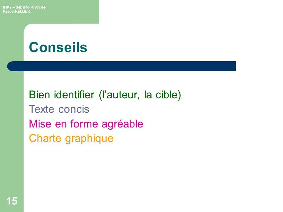 Conseils Bien identifier (l'auteur, la cible) Texte concis
