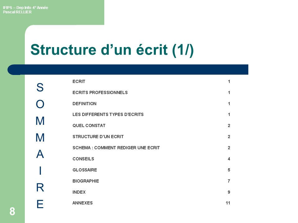 Structure d'un écrit (1/)