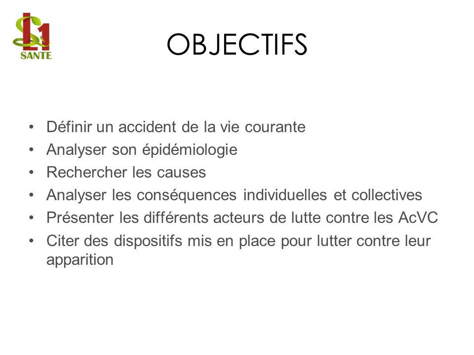 OBJECTIFS Définir un accident de la vie courante