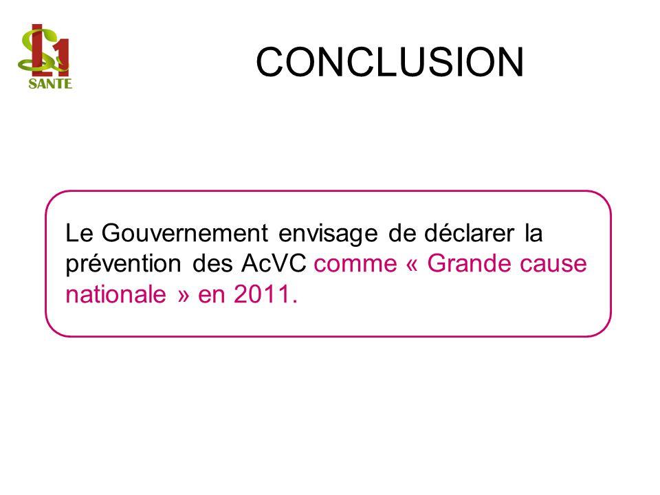 CONCLUSION Le Gouvernement envisage de déclarer la prévention des AcVC comme « Grande cause nationale » en 2011.