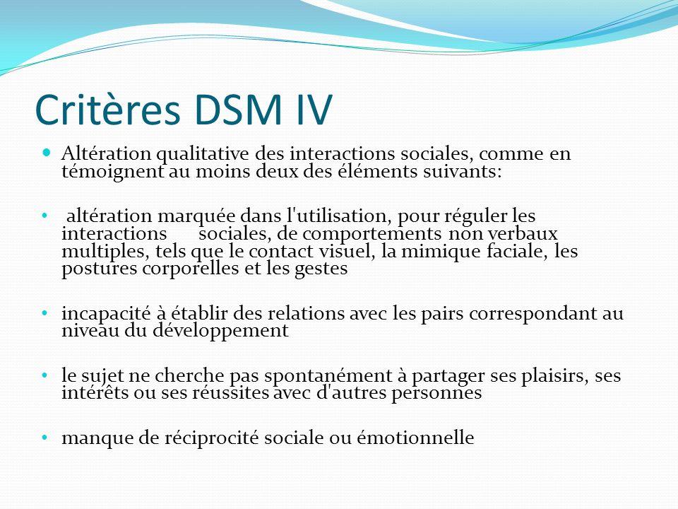 Critères DSM IV Altération qualitative des interactions sociales, comme en témoignent au moins deux des éléments suivants: