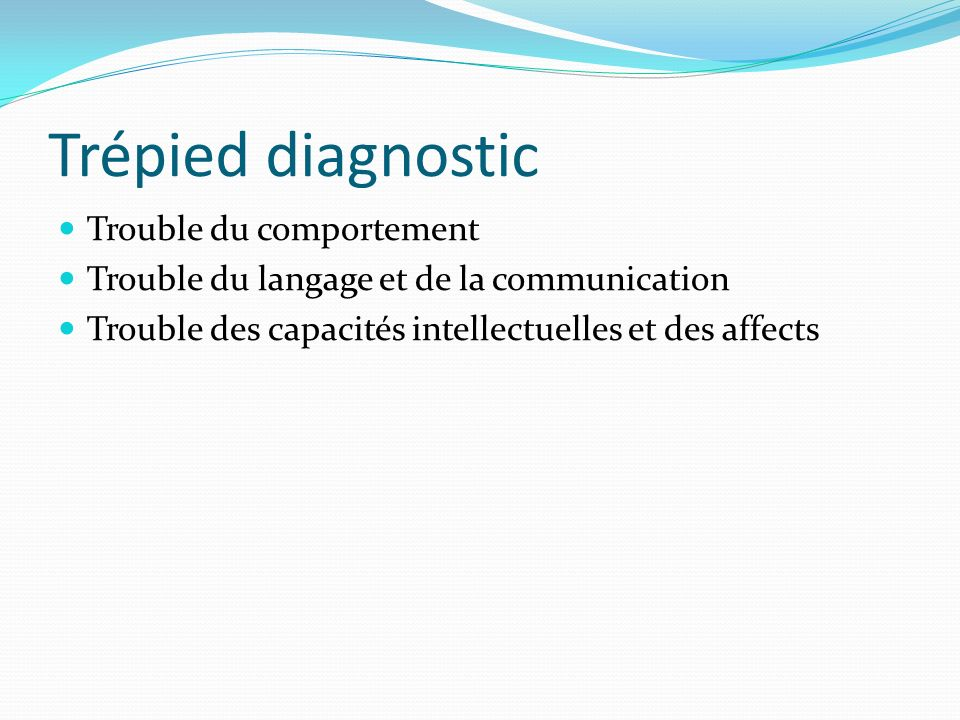 Trépied diagnostic Trouble du comportement
