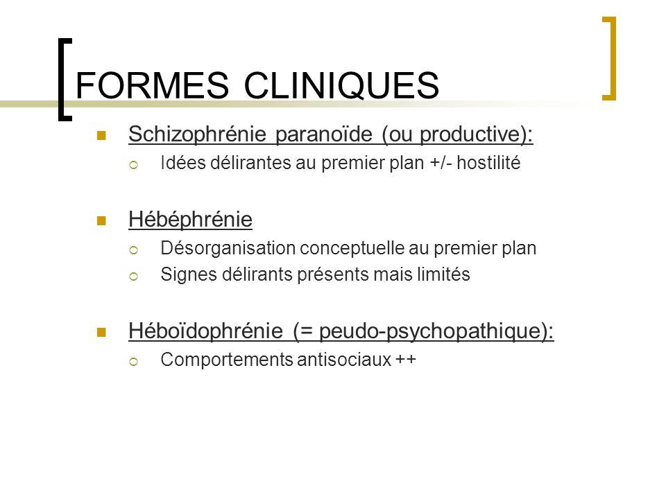FORMES CLINIQUES Schizophrénie paranoïde (ou productive): Hébéphrénie