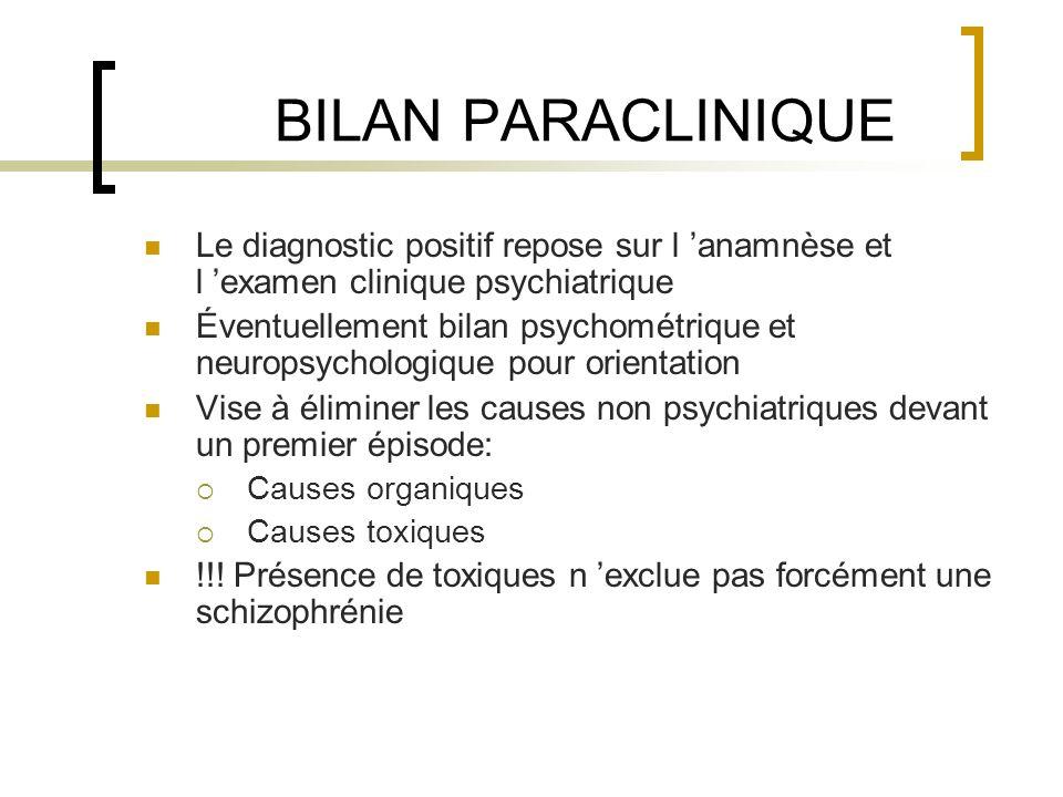 BILAN PARACLINIQUE Le diagnostic positif repose sur l 'anamnèse et l 'examen clinique psychiatrique.