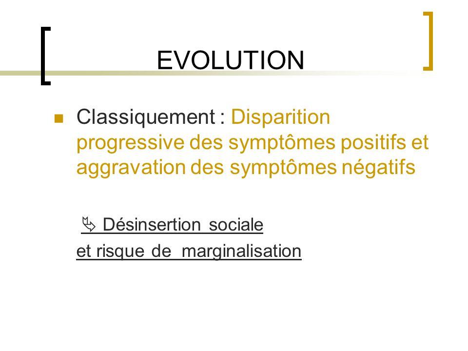 EVOLUTION Classiquement : Disparition progressive des symptômes positifs et aggravation des symptômes négatifs.