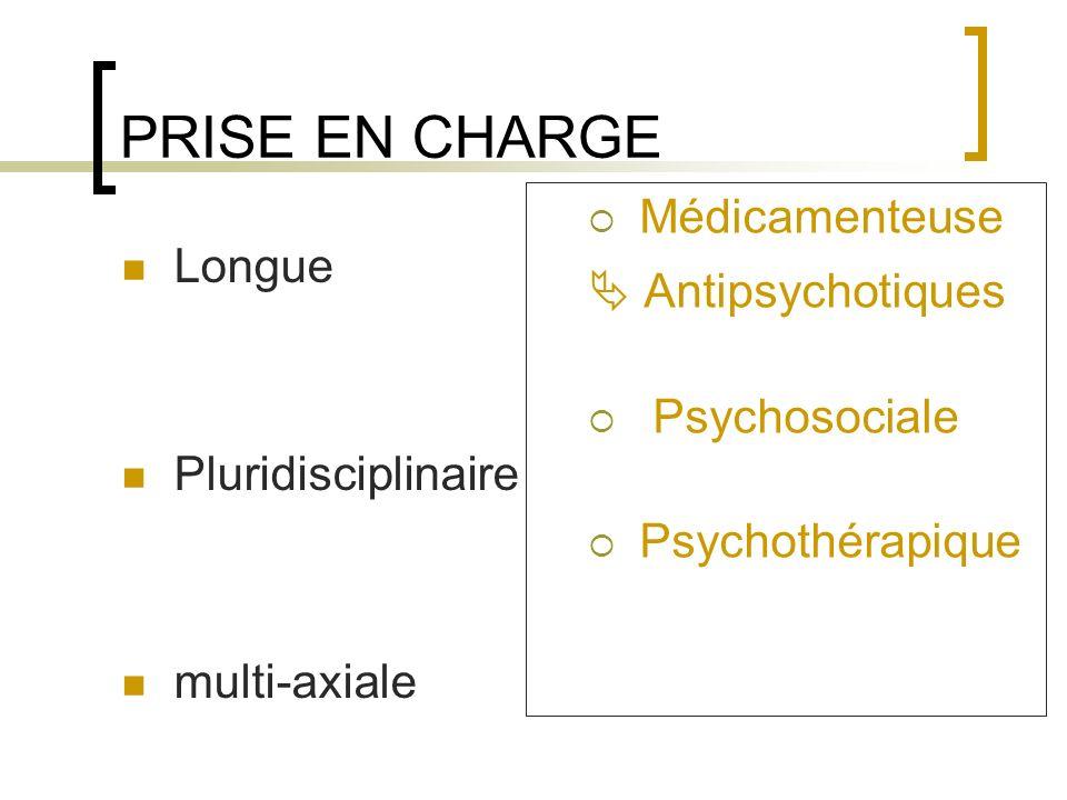 PRISE EN CHARGE Médicamenteuse  Antipsychotiques Longue Psychosociale