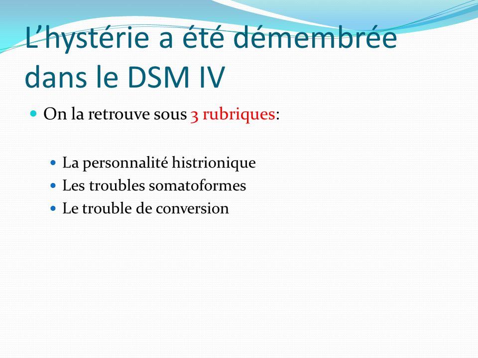 L'hystérie a été démembrée dans le DSM IV