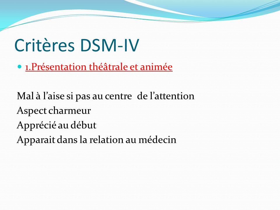Critères DSM-IV 1.Présentation théâtrale et animée