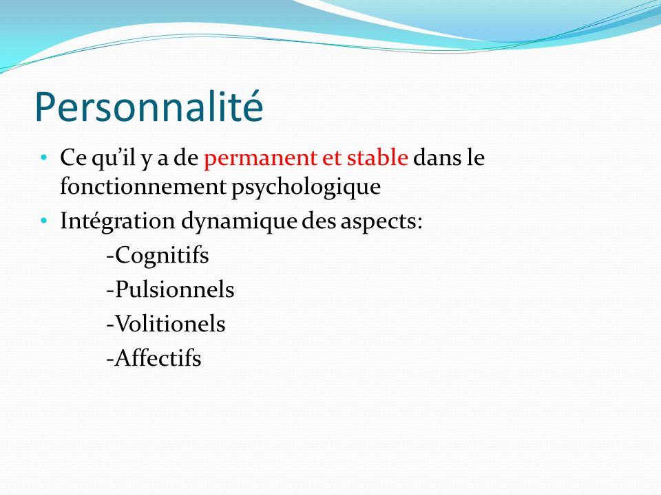 Personnalité Ce qu'il y a de permanent et stable dans le fonctionnement psychologique. Intégration dynamique des aspects: