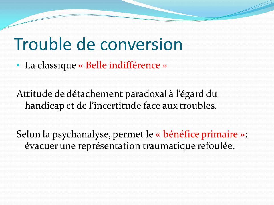 Trouble de conversion La classique « Belle indifférence »