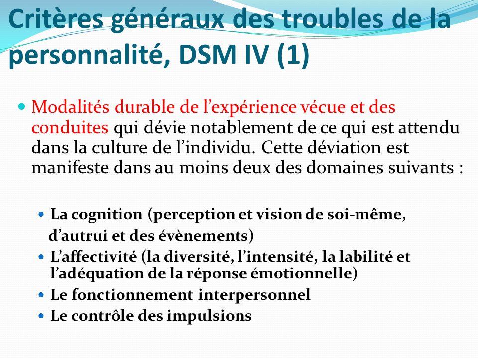 Critères généraux des troubles de la personnalité, DSM IV (1)